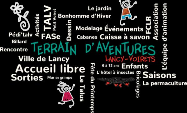 Nuage de mots clefs · Terrain d'aventures Lancy-Voirets · TALV